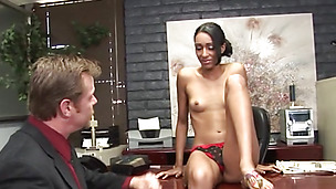 Schoolgirl can't wait to get some cock in her snatch