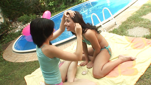 Lad loves having enticing brunette Miho's tits around his slim jim