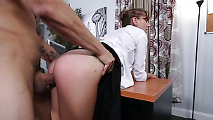 Sexy brunette secretary gets freaky in the office after work